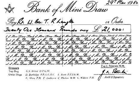 Lodge History Cheque